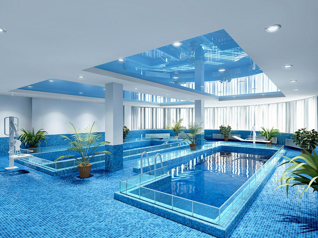 бассейн и пол из мозаики