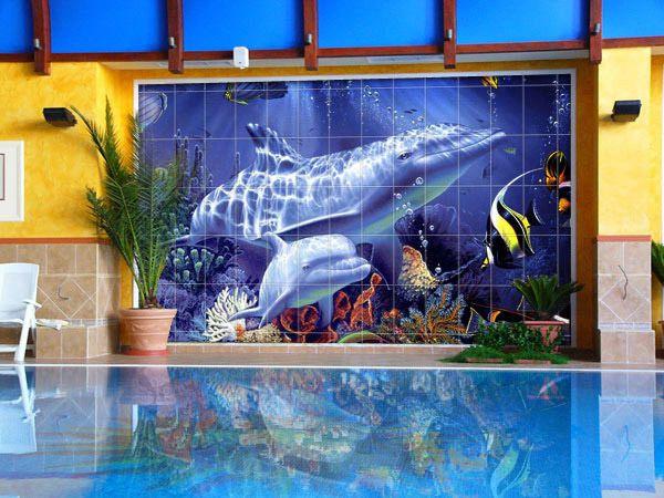 плитка с нанесенным фото для отделки бассейна