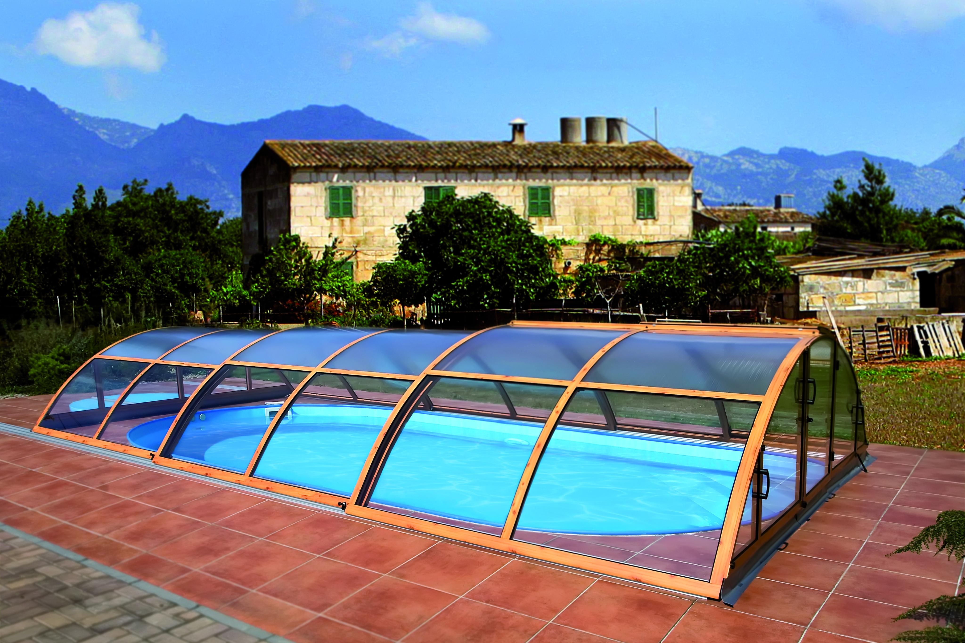 покрытия для бассейна - павильон со сдвижной системой