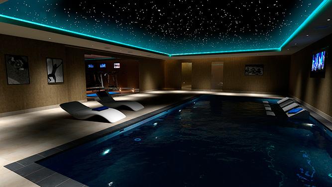 звездное небо над бассейном