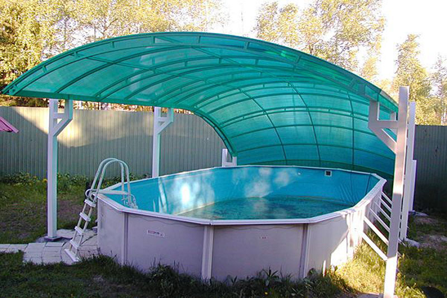 Стационарный навес для бассейна из поликарбоната