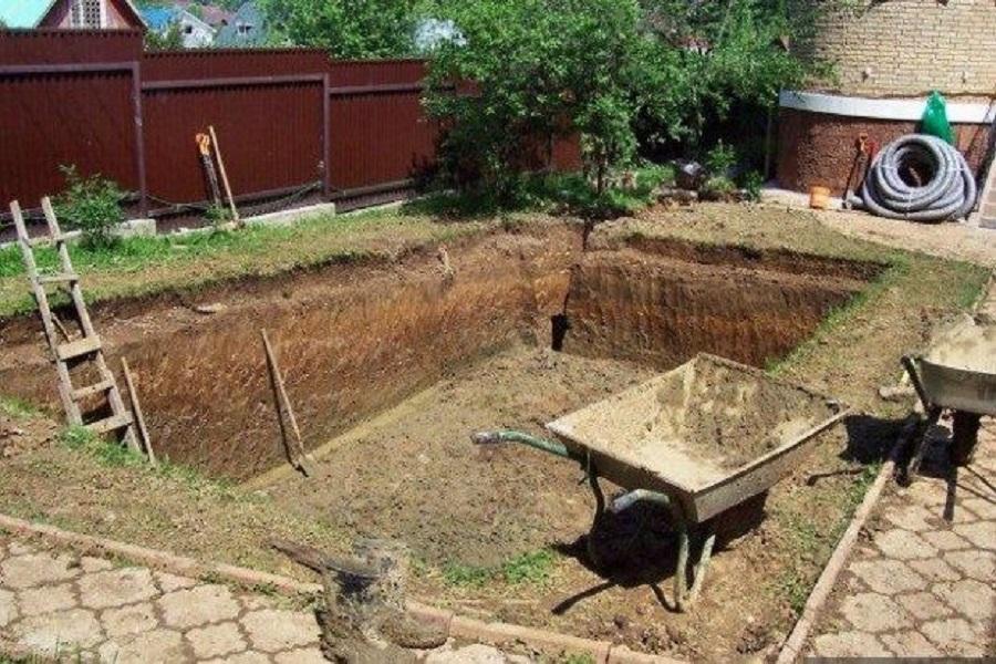 Этапы строительства бассейна, роем котлован