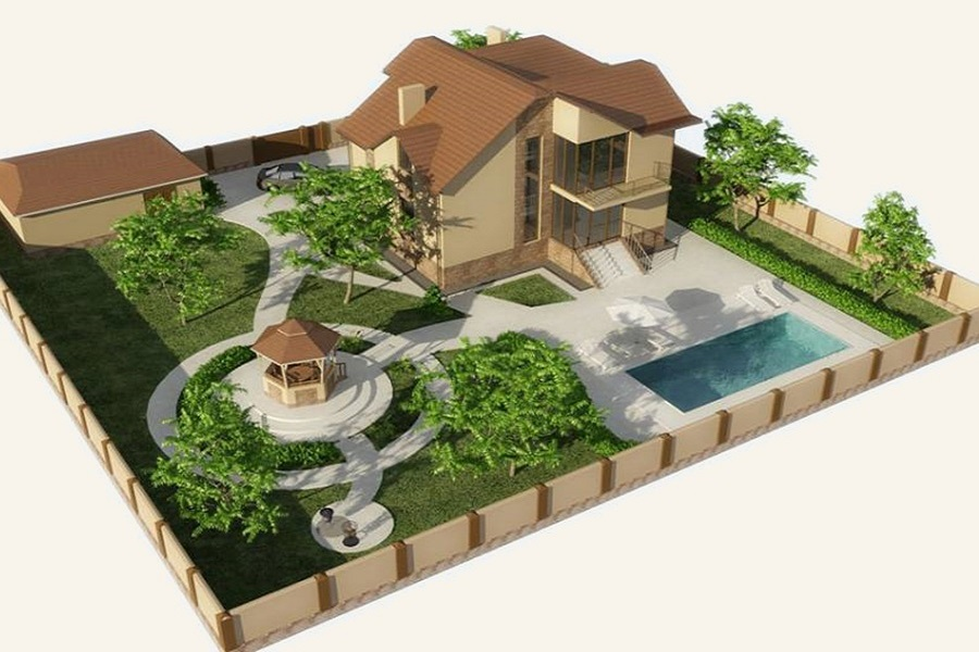 Пример проекта дачного участка с бассейном