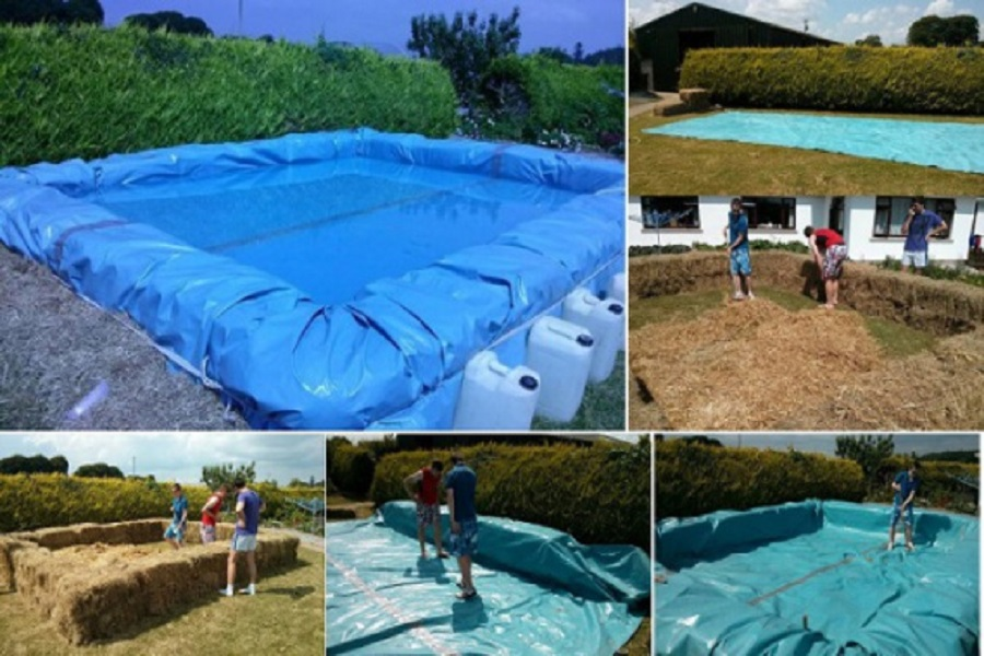 Строительство бассейна из тюков сена и пленки ПВХ